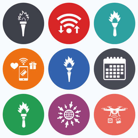 torch light: Wifi, mobile payments and drones icons. Torch flame icons. Fire flaming symbols. Hand tool which provides light or heat. Calendar symbol.