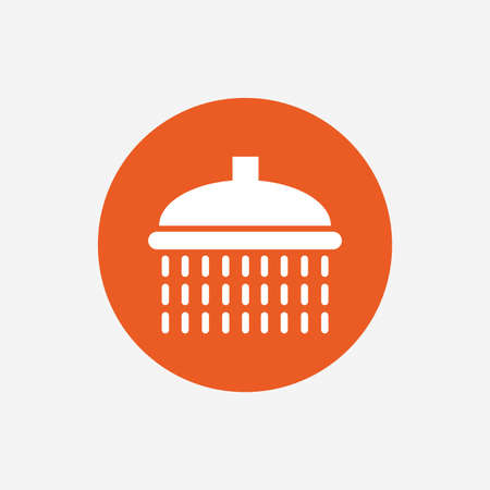 washstand: Shower sign icon. Douche with water drops symbol. Orange circle button with icon. Vector