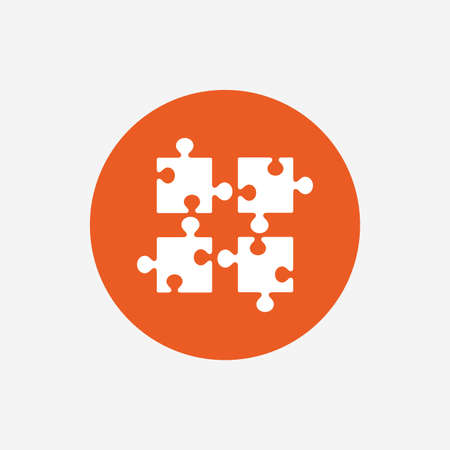 ingenuity: Puzzles pieces sign icon. Strategy symbol. Ingenuity test game. Orange circle button with icon. Vector Illustration