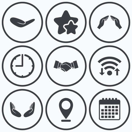 meditation help: Clock, wifi and stars icons. Hand icons. Handshake successful business symbol. Insurance protection sign. Human helping donation hand. Prayer meditation hands. Calendar symbol. Illustration