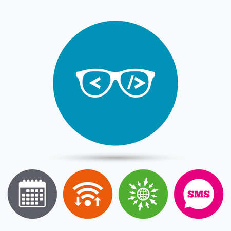 coder: Wifi, Sms and calendar icons. Coder sign icon. Programmer symbol. Glasses icon. Go to web globe. Illustration