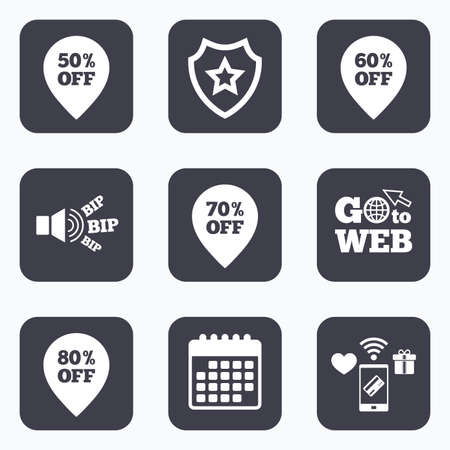 50 to 60: Mobile payments, wifi and calendar icons. Sale pointer tag icons. Discount special offer symbols. 50%, 60%, 70% and 80% percent off signs. Go to web symbol. Illustration