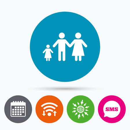 family with one child: Wifi, Sms and calendar icons. Family with one child sign icon. Complete family symbol. Go to web globe.