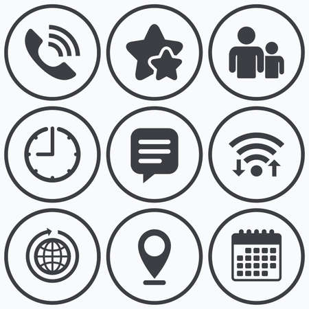 rang: Clock, wifi and stars icons. Group of people and share icons. Speech bubble and round the world arrow symbols. Communication signs. Calendar symbol.