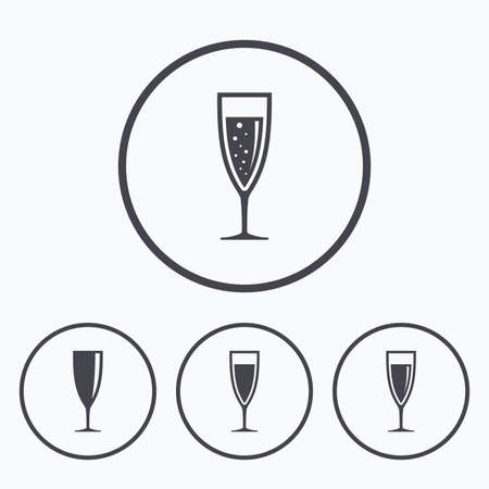 chardonnay: Champagne wine glasses icons. Alcohol drinks sign symbols. Sparkling wine with bubbles. Icons in circles.