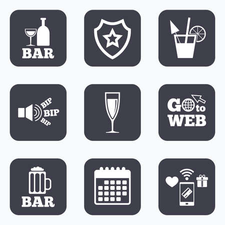 champagne orange: Mobile payments, wifi and calendar icons. Bar or Pub icons. Glass of beer and champagne signs. Alcohol drinks and cocktail symbols. Go to web symbol.