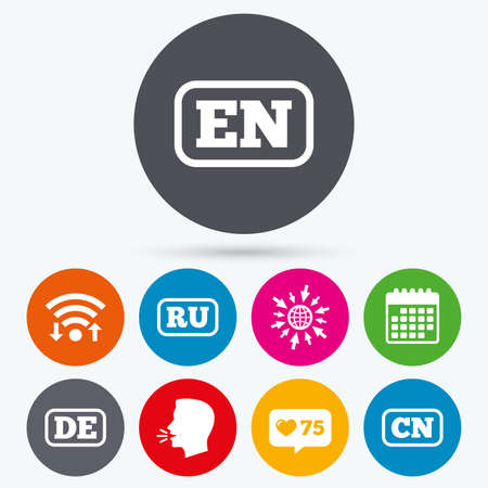 like english: Wifi, like counter and calendar icons. Language icons. EN, DE, RU and CN translation symbols. English, German, Russian and Chinese languages. Human talk, go to web.