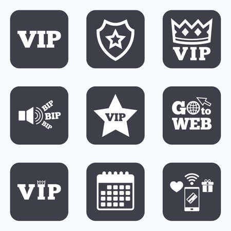 very important person: Mobile payments, wifi and calendar icons. VIP icons. Very important person symbols. King crown and star signs. Go to web symbol.