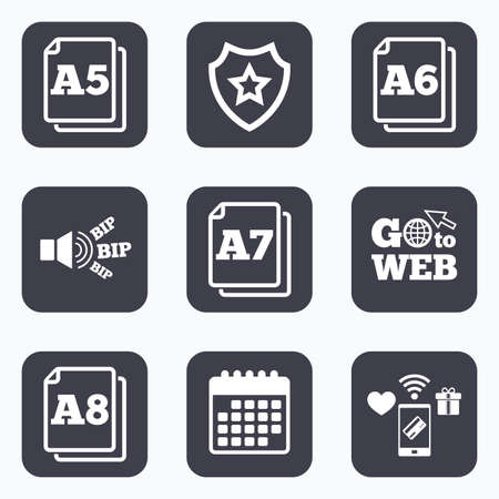 a7: Mobile payments, wifi and calendar icons. Paper size standard icons. Document symbols. A5, A6, A7 and A8 page signs. Go to web symbol.
