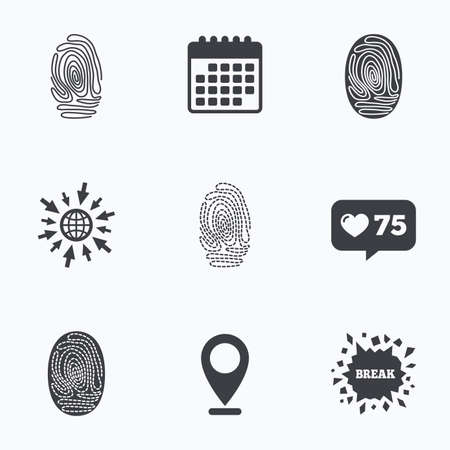 dabs: Calendar, like counter and go to web icons. Fingerprint icons. Identification or authentication symbols. Biometric human dabs signs. Location pointer. Illustration