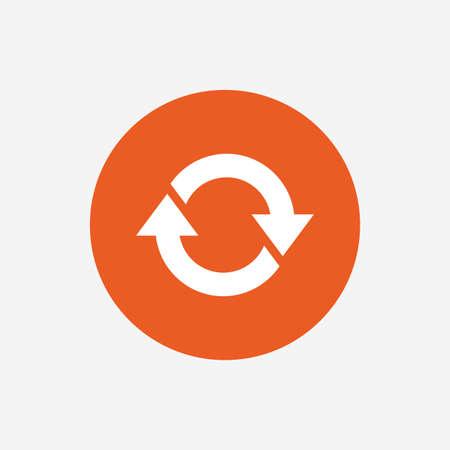 icône de rotation. Répétez symbole. Actualisez signe. Orange bouton cercle avec l'icône. Vecteur