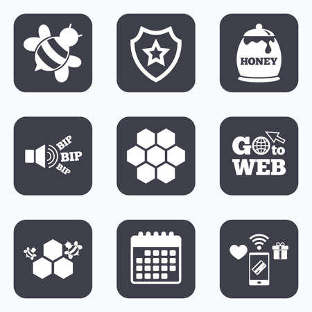 fructose: Mobile payments, wifi and calendar icons. Honey icon. Honeycomb cells with bees symbol. Sweet natural food signs. Go to web symbol.