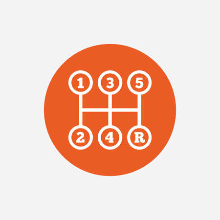 shifter: Manual transmission sign icon. Automobile mechanic control symbol. Orange circle button with icon. Vector