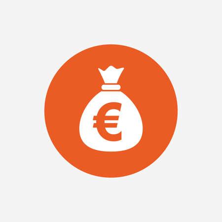 eur: Money bag sign icon. Euro EUR currency symbol. Orange circle button with icon. Vector