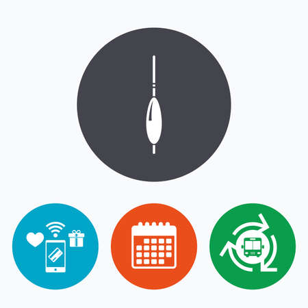 tackle: Fishing sign icon. Float bobber symbol. Fishing tackle. Mobile payments, calendar and wifi icons. Bus shuttle.