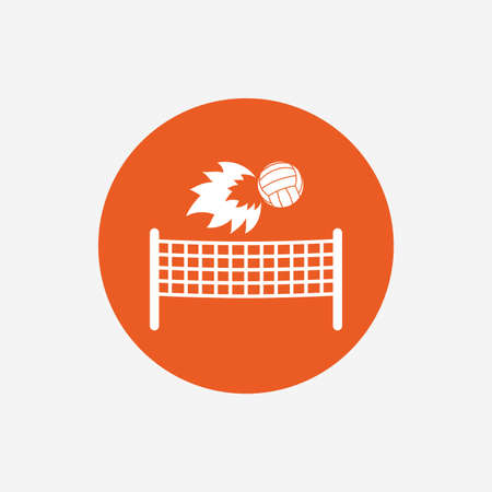 Volleyball net with fireball sign icon. Beach sport symbol. Orange circle button with icon. Vector Illustration