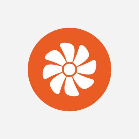 ventilation: Ventilation sign icon. Ventilator symbol. Orange circle button with icon. Vector