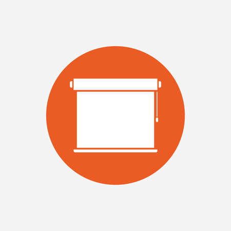 jalousie: Louvers rolls sign icon. Window blinds or jalousie symbol. Orange circle button with icon. Vector