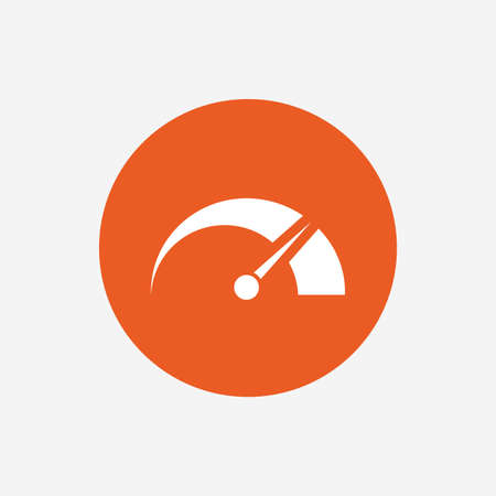 tachometer: Tachometer sign icon. Revolution-counter symbol. Car speedometer performance. Orange circle button with icon. Vector