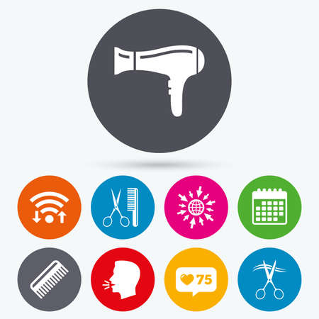 cut hair: Wifi, like counter and calendar icons. Hairdresser icons. Scissors cut hair symbol. Comb hair with hairdryer sign. Human talk, go to web.