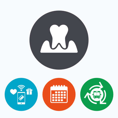 gingivitis: Parodontosis tooth icon. Gingivitis sign. Inflammation of gums symbol. Mobile payments, calendar and wifi icons. Bus shuttle. Illustration