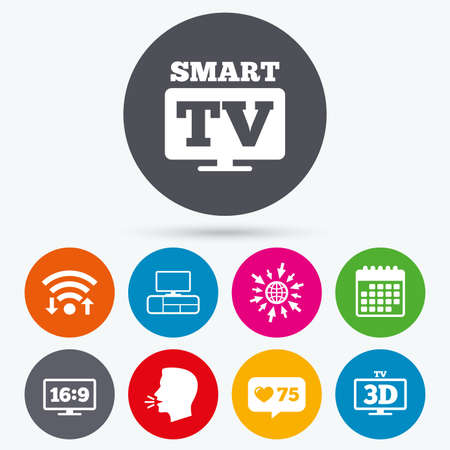3d mode: Wifi, like counter and calendar icons. Smart TV mode icon. Aspect ratio 16:9 widescreen symbol. 3D Television and TV table signs. Human talk, go to web.