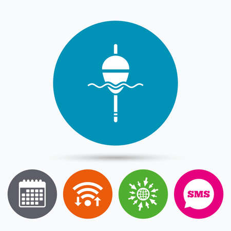 tackle: Wifi, Sms and calendar icons. Fishing sign icon. Float bobber symbol. Fishing tackle. Go to web globe.