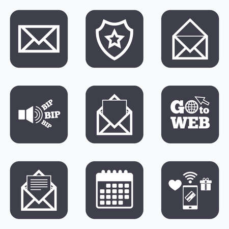 webmail: Mobile payments, wifi and calendar icons. Mail envelope icons. Message document symbols. Post office letter signs. Go to web symbol. Illustration