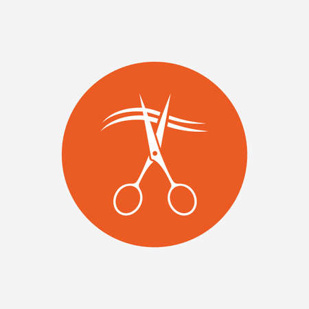 orange cut: Scissors cut hair sign icon. Hairdresser or barbershop symbol. Orange circle button with icon. Vector