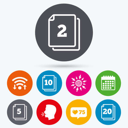 2 5: Wifi, like counter and calendar icons. In pack sheets icons. Quantity per package symbols. 2, 5, 10 and 20 paper units in the pack signs. Human talk, go to web.