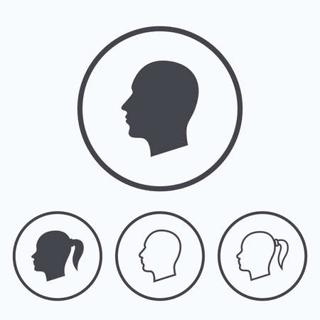 pigtail: Head icons. Male and female human symbols. Woman with pigtail signs. Icons in circles.