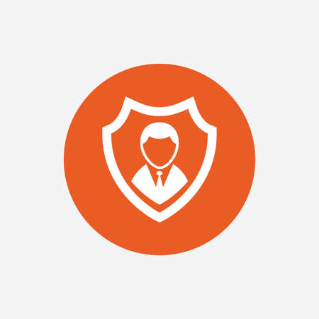 security symbol: Security agency sign icon. Shield protection symbol. Orange circle button with icon. Vector
