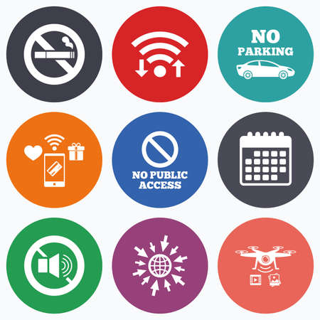 Wifi Mobile Payments And Drones Icons Stop Smoking No Sound Signs Private