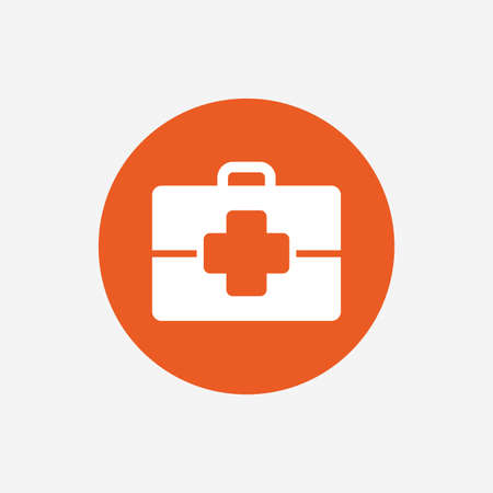 medical case: Medical case sign icon. Doctor symbol. Orange circle button with icon. Vector Illustration