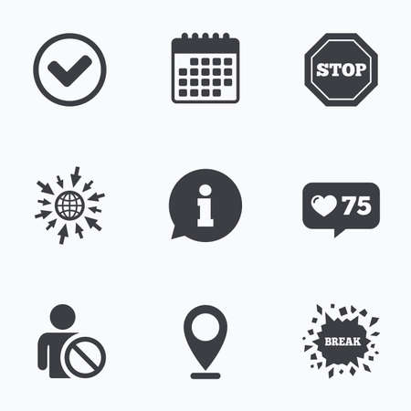 blacklist: Calendar, like counter and go to web icons. Information icons. Stop prohibition and user blacklist signs. Approved check mark symbol. Location pointer. Illustration
