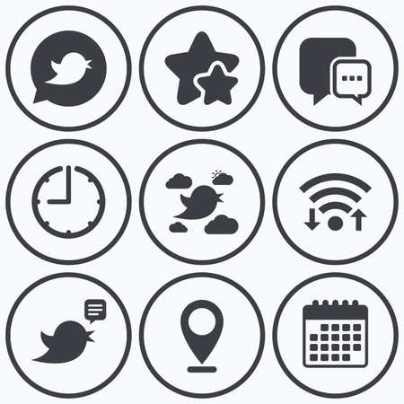 three points: Clock, wifi and stars icons. Birds icons. Social media speech bubble. Short messages chat symbol. Calendar symbol.