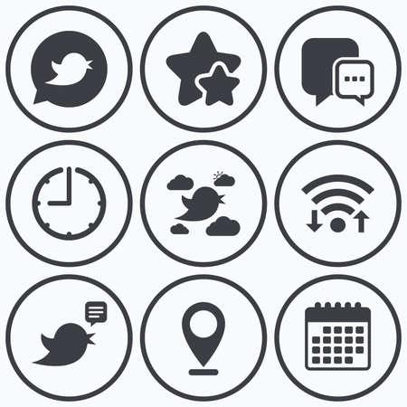 three dots: Clock, wifi and stars icons. Birds icons. Social media speech bubble. Short messages chat symbol. Calendar symbol.