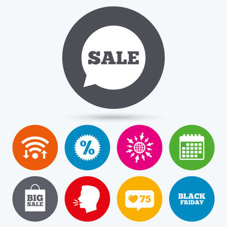 talk big: Wifi, like counter and calendar icons. Sale speech bubble icon. Discount star symbol. Black friday sign. Big sale shopping bag. Human talk, go to web.