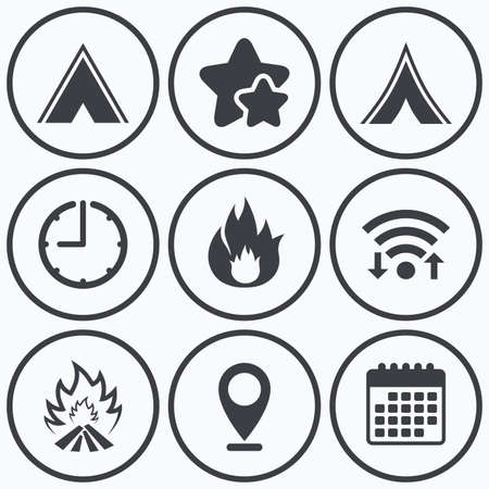 best shelter: Clock, wifi and stars icons. Tourist camping tent icons. Fire flame sign symbols. Calendar symbol.