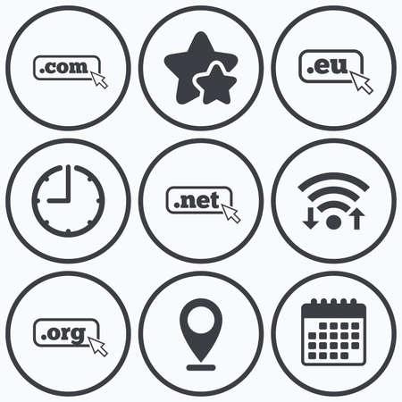 dns: Clock, wifi and stars icons. Top-level internet domain icons. Com, Eu, Net and Org symbols with cursor pointer. Unique DNS names. Calendar symbol.