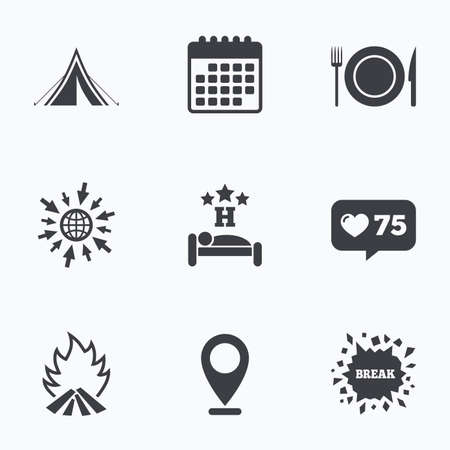 breakfast in bed: Calendar, like counter and go to web icons. Food, sleep, camping tent and fire icons. Knife, fork and dish. Hotel or bed and breakfast. Road signs. Location pointer. Illustration