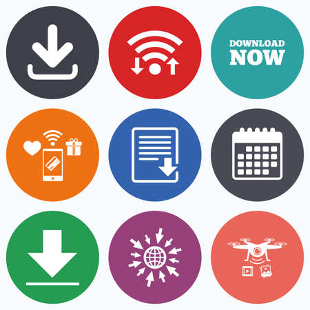 receive: Wifi, mobile payments and drones icons. Download now icon. Upload file document symbol. Receive data from a remote storage signs. Calendar symbol. Illustration