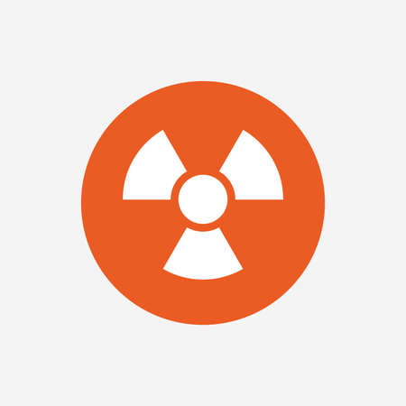 danger of radiation: Radiation sign icon. Danger symbol. Orange circle button with icon. Vector