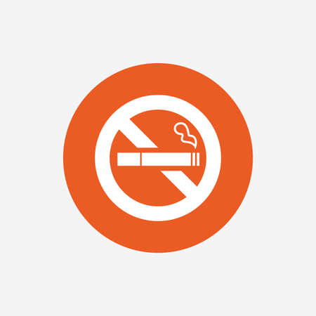 quit: No Smoking sign icon. Quit smoking. Cigarette symbol. Orange circle button with icon. Vector