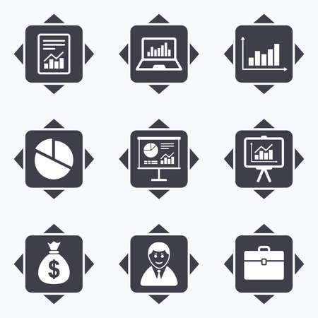 business case: Icons with direction arrows. Statistics, accounting icons. Charts, presentation and pie chart signs. Analysis, report and business case symbols. Square buttons. Illustration