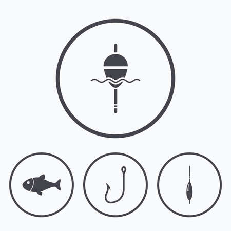 bobber: Fishing icons. Fish with fishermen hook sign. Float bobber symbol. Icons in circles.