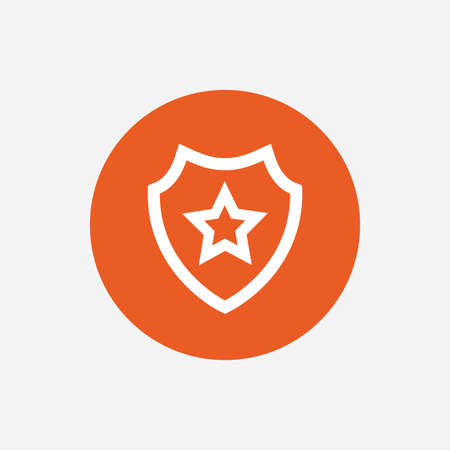 best security: Shield with star icon. Favorite protection symbol. Orange circle button with icon. Vector