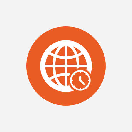 ut: World time sign icon. Universal time globe symbol. Orange circle button with icon. Vector