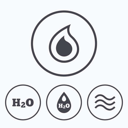 tear drop: H2O Water drop icons. Tear or Oil drop symbols. Icons in circles.