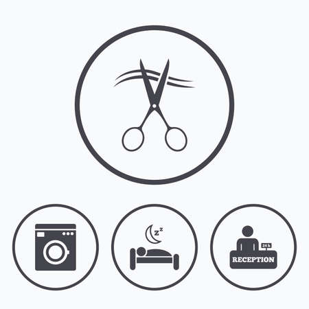 barbershop: Hotel services icons. Washing machine or laundry sign. Hairdresser or barbershop symbol. Reception registration table. Quiet sleep. Icons in circles.